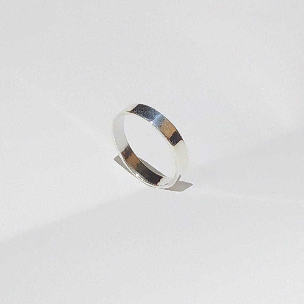 แหวนเงินแท้ แหวนเกลี้ยง หน้าแบน 5 มม.