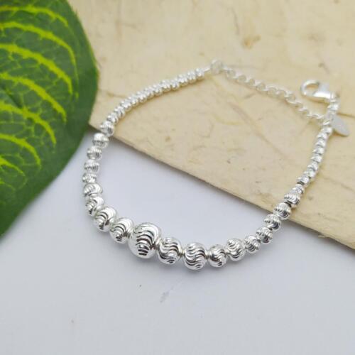 สร้อยข้อมือเงินแท้ ลายบอลตัดมูนคัท งานอิตาลี 925 Sterling Silver Moon Cut Bracelet